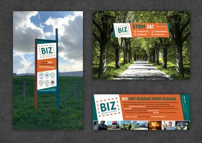 BIZ logo, flyer, spandoek, bord en website