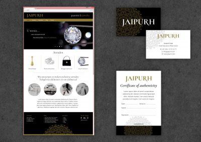Jaipurh diamanten logo, huisstijl, certificaat