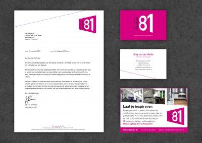 Ontwerpstudio 81 logo, huisstijl, website, advertentie